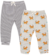 John Lewis Leopard and Striped Trousers, Pack of 2, Grey Marl