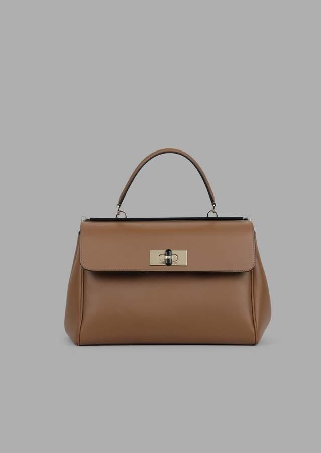 Giorgio Armani Smooth Leather Handbag With Plexiglass Turn Lock And Details