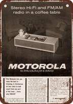 """Wall-Color 7"""" x 10"""" Metal Sign - 1963 Motorola Stereo Coffee Table - Vintage Look Reproduction"""