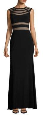 Betsy & Adam Mesh-Accented Gown