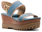 MICHAEL Michael Kors Gillian Leather Trimmed Denim Double-Platform Wedge Sandals