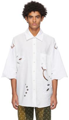 Marine Serre White Regenerated Pillowcase Short Sleeve Shirt