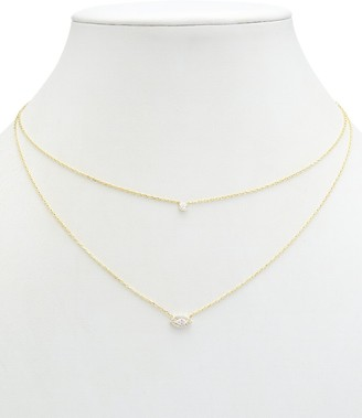 Alanna Bess Limited Collection 14K Over Silver Cz Two-Layer Necklace