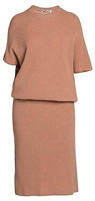 Agnona Cashmere Pearl Ribbed Dolman Knit Sweaterdress
