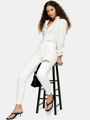 Topshop 34'Thigh Rip Jamie Jeans - White
