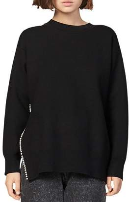 Sandro Pearlin Split-Side Sweater