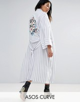 Asos Soft Coat in Stripe with Embroidered Back