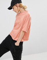 Converse Embossed Logo High Neck T-Shirt In Pink