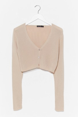 Nasty Gal Womens What's Knit to Love Cropped Button-Down Cardigan - Stone