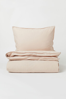 H&M Washed Cotton Duvet Cover Set - Beige