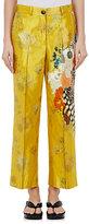 Dries Van Noten Women's Powell Cotton-Blend Satin Crop Trouers-Yellow