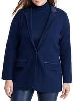 Lauren Ralph Lauren Plus Single-Button Knit Blazer