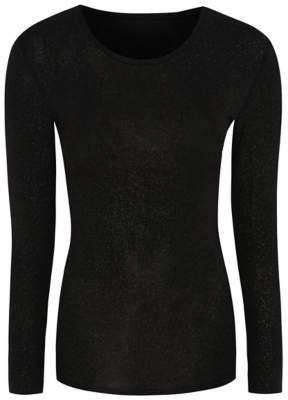 George Black Thermal Glitter Long Sleeve Top