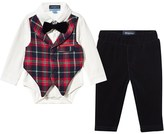 Andy & Evan White Shirt Body with Tartan Waistcoat and Trousers Set