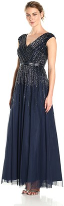 Aidan Mattox Aidan Women's Cap Sleeve Beaded Gown