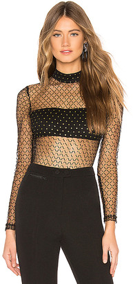 superdown Callie Dotted Mesh Bodysuit