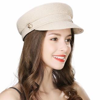 BEIGE Jeff & Aimy Womens Straw Sun Hat Newsboy Cap Visor Beret Packable Soft Breathable Fashion Cap