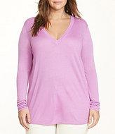 Lauren Ralph Lauren Plus Silk-Blend V-Neck Curved Hem Sweater