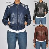 Carter's Knoles & Carter Women's Plus Size Contempo Racing Bomber Leather Jacket