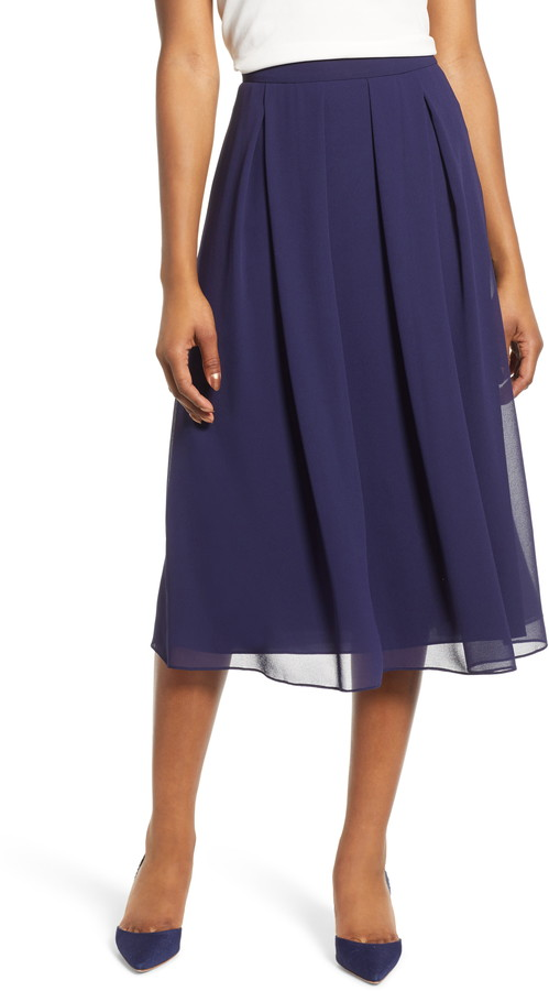 895ae63581 Blue Pleated Skirt - ShopStyle
