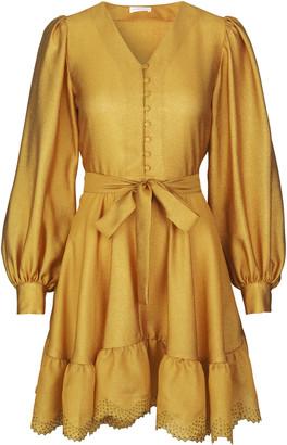 Stine Goya Farrow Belted Crepe de Chine Dress