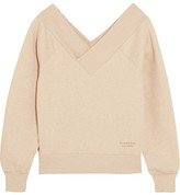 Burberry Off-the-shoulder Stretch Cotton-blend Sweatshirt - Beige