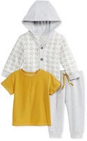 First Impressions Baby Boys' 3-Pc. Hooded Houndstooth Cardigan, T-Shirt & Pants Set, Only at Macy's