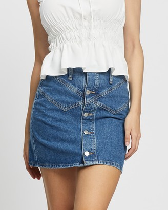 Topshop Women's Blue Denim skirts - Denim Button Through Seam Mini Skirt - Size 8 at The Iconic