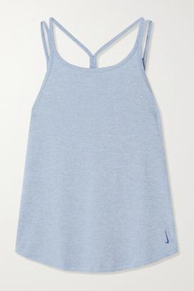 Nike Yoga Strappy Striped Dri-fit Tank - Blue