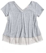 Hip Girl's Marled Lace Trim Tee