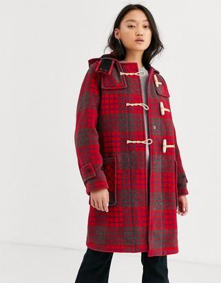 Gloverall Monty full length red check duffle coat in wool blend