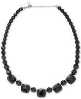 Lauren Ralph Lauren Silver-Tone Hide and Chic Graduated Black Crystal Necklace