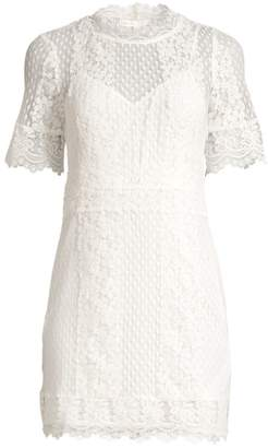 Maje Short Sleeve Lace Mini Dress