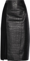Jason Wu Croc-effect leather and wool midi skirt