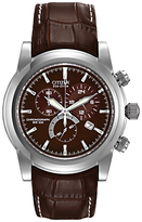 Citizen At0550-11x Sport Eco Drive Chronograph Leather Strap Watch, Brown