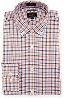 Neiman Marcus Luxury Tech Trim-Fit Plaid-Print Dress Shirt, Orange