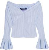 Jacquemus Off-the-shoulder Striped Cotton-poplin Top - Blue