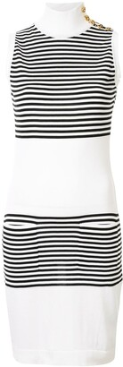 Chanel Pre Owned Striped Block Mini Dress