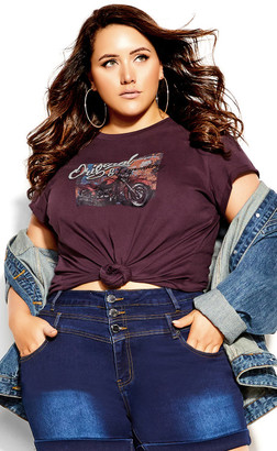 City Chic Back It Up Tee - maroon
