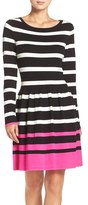 Eliza J Stripe Fit & Flare Sweater Dress