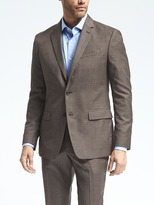 Banana Republic Standard Brown Windowpane Wool Suit Jacket