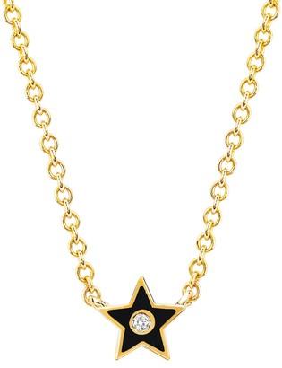 Ef Collection 14K Yellow Gold Black Enamel & Diamond Star Necklace - 0.02 ctw