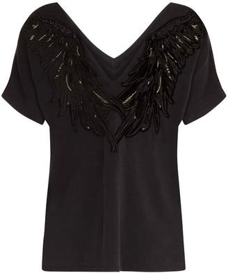 Traffic People Black Swan Applique Backless T-shirt In Black