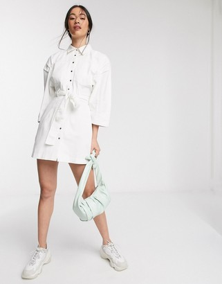 ASOS DESIGN soft denim mini shirt dress in white