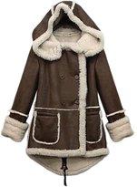 SODIA(R) Women Winter Warm Thicken Feeceape Parka Woo Coat Hooded Outwear Jacket