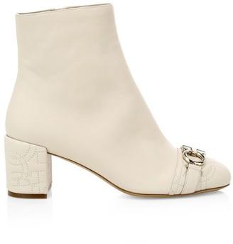 Salvatore Ferragamo Primula Cap-Toe Leather Ankle Boots