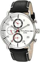 Tommy Bahama Men's Dress Stainless Steel Case and Black Leather Strap Multi-Function Watch (Model:TB00014-01)