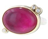 Jamie Joseph Oval African Ruby Ring with Diamonds