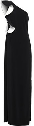 Halston One-shoulder Ruffle-trimmed Two-tone Crepe Gown