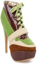 Brown & Green Stripe Lace-Up Platform Bootie